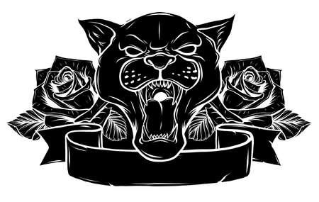 Black Silhouette Of Panther vector illustration design 일러스트
