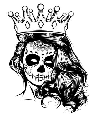 Day of dead girl black and white vector illustration