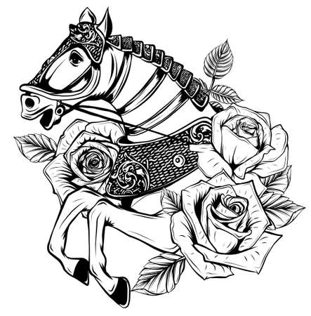 Beautiful horse with roses. Vector hand drawn illustration