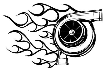 logo design for turbo with fire vector