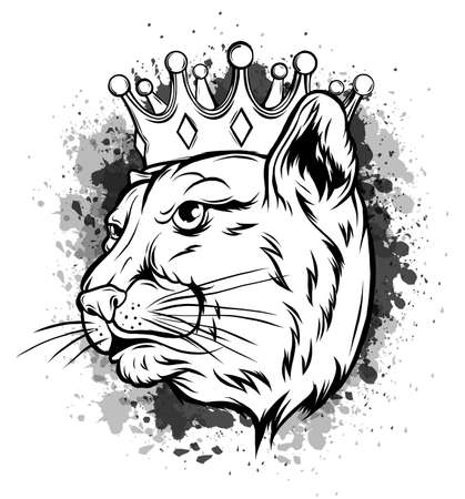 Black panther with crown on his head and open mouth, on white background