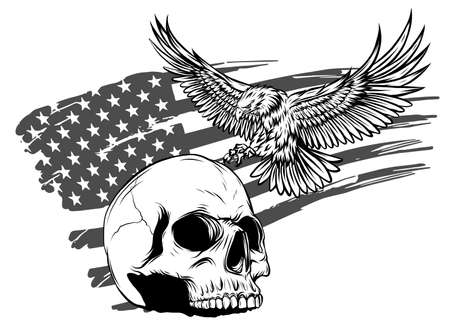 draw of Skull and flag usa. Vector illustration.
