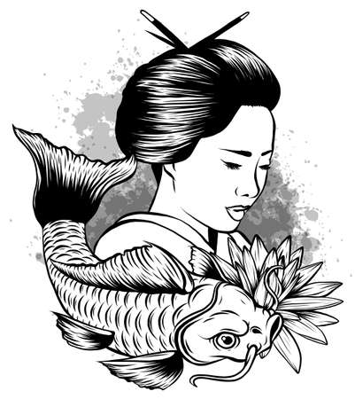 hand drawn koi fish with flower tattoo for Arm.Colorful Koi carp with Water splash Vettoriali