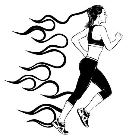 Full length side view portrait of young running girl, woman, female athlete, sketch vector illustration isolated on white background.