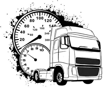 Cartoon semi truck. vector illustration design art