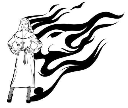 vector illustration of a sexy nun design art Illustration