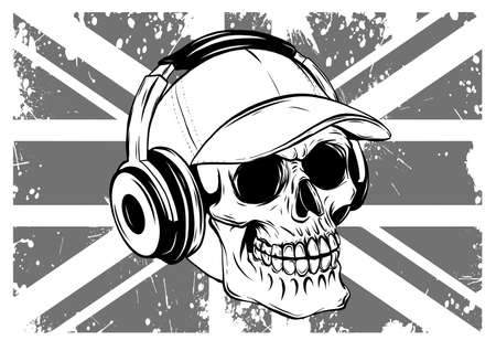 skull with headphones listening to music drawing