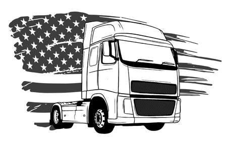 Vector cartoon semi truck illustration design art Stockfoto - 142993251