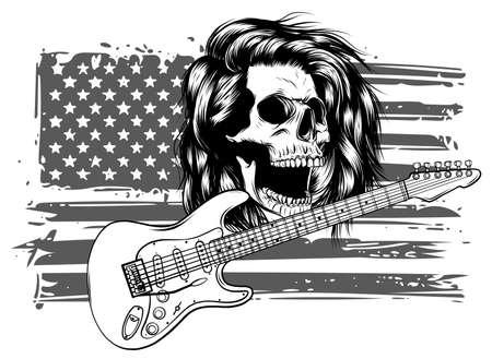 Sketch of a guitar with a skull vector Vektorgrafik
