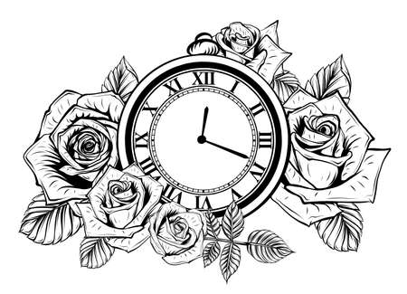 Composition with flower and pocket watch on chain. Vector illustration for tattoo.