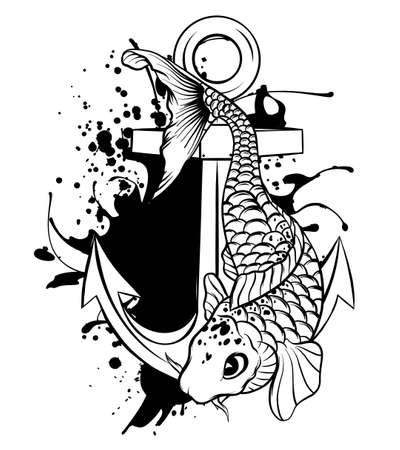 Anchor and fish vetor illustration