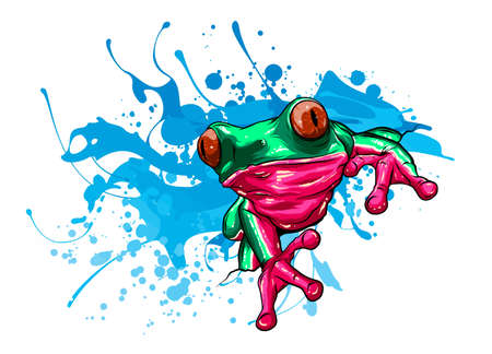animal Red frog with flower vector