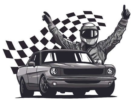 Monochromatic vector illustration of a race car driver in front of his car