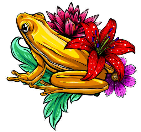 tropical Frog with flowers vector illustration image