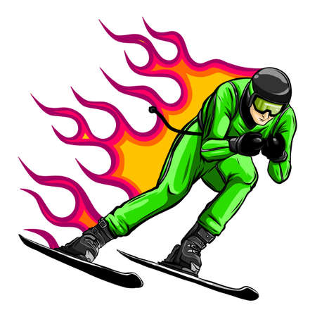 Smiling cartoon skier. Mountain skiing sportsman character with goggles and ski suit. Young man on skis vector illustration.
