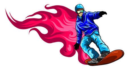 Jumping snowboarder. Vector sign branding identity corporate logo. illustration 向量圖像