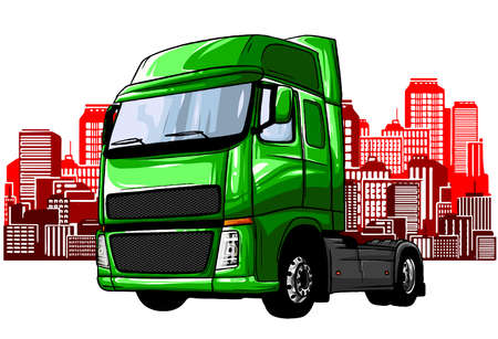 Truck driving on the road. Cargo transportation. Stock vector illustration.