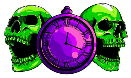 pocket watch with human skull,Time and death concept. illustration line art. Ilustração