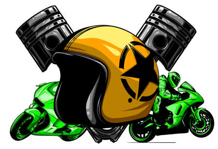 red motorcycle helmet icon. illustration of motorbike or motorcycle helmet vector icon  イラスト・ベクター素材