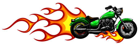 Fiery Sports Motorbike Racer Variation vector illustration