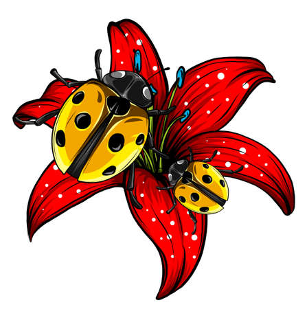 ladybugs in the garden red vector illustration  イラスト・ベクター素材