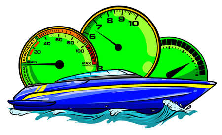Racing boat. Top view. Vector illustration. Applique with realistic shadows.