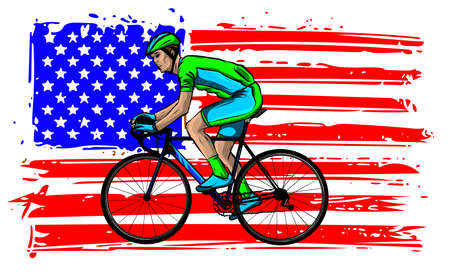american cyclist riding racing bicycle cycling facing front set inside shield crest with usa stars and stripes flag in the background done in retro style. Stock Illustratie