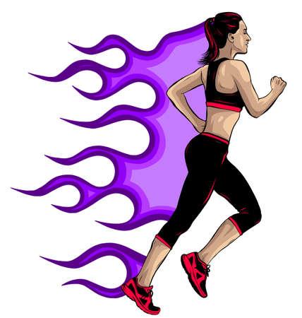 Woman running in city park vector illustration