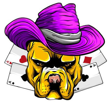 playing card and bulldog vector illustration Ilustrace
