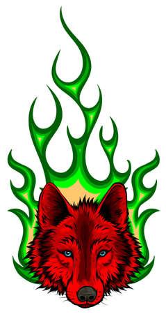 Wolf Flaming Fire Logo Vector Mascot Design