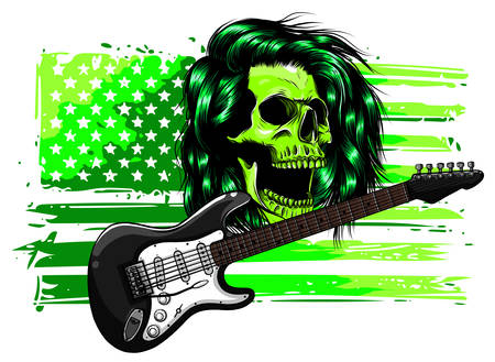 Human skull and electric guitar. Symbol of rock, musical festivals