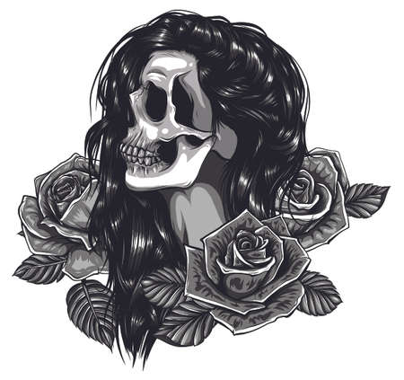 vector Illustration of black and white skull girl with rose in hairs on white background