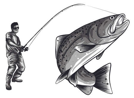 Fisherman in rubber boots with a caught fish and a fishing rod isolated on white background vector Stock Illustratie