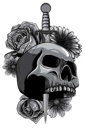 Vector illustration human death skull broken sword with roses 向量圖像