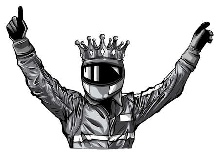 Car racing man cartoon vector illustratio design Stock Illustratie