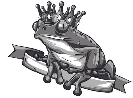The frog Prince Fairy Tale illustration, with crown.