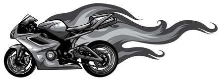 Fiery Sports Motorbike Racer Variation vector Stock Illustratie