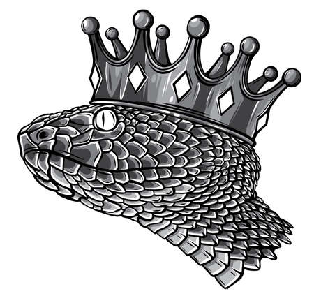 Snake Crown logo template design Vector illustration Isolated