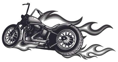 Flaming Bike Chopper Ride Front View Stock Illustratie