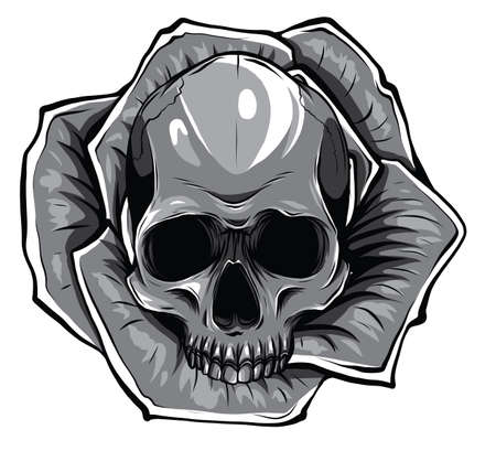 Monochromatic Skull with flowers, with roses. Drawing by hand. Vector.