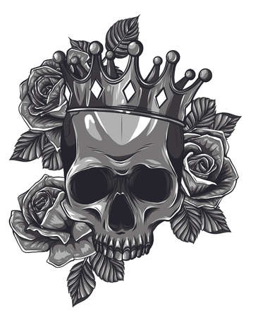 Monochromatic Vector illustration human death skull in crown with roses