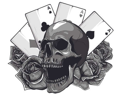 Monochromatic aces of poker and roses with skull, grunge vintage vector Stock Illustratie