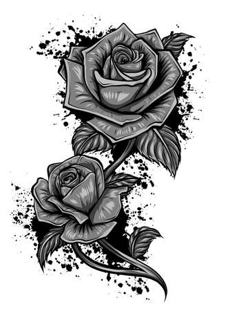 Vector monochromatic image of roses in retro style. Hand-drawn lineart. Vector. Stock Illustratie