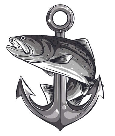 fish twisted to an anchor of a boat
