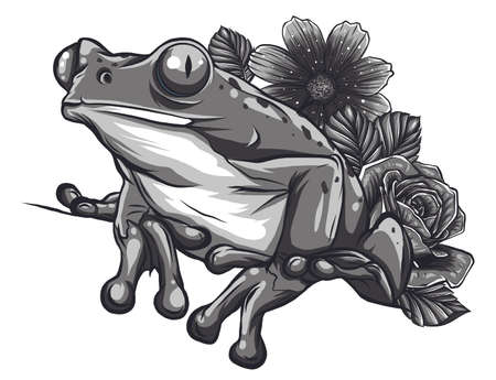 Cute cartoon Frog with flowers and a gift box, happy congratulations vector doodle stock illustration, black and white isolated print for greeting / invitation card, coloring book, t-shirt, fabric