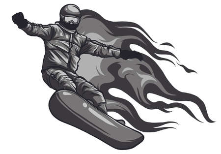 Winter sport, snowboarding - vector illustration of a young boy snowboarder doing a jump on a snowboard. Black and white vector illustration