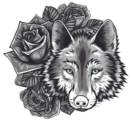 Vector sketch of a wolf's face Stock Illustratie
