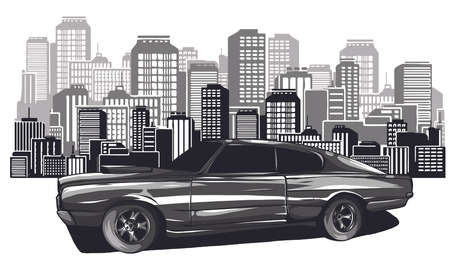 picture of car on the road with forest and big city silhouette on background, flat style illustration Stock Illustratie