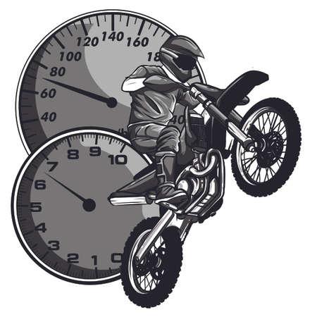 motocross rider ride the motocross bike vector
