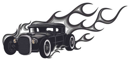 Rat rod on a background with flames. Vector. Stock Illustratie